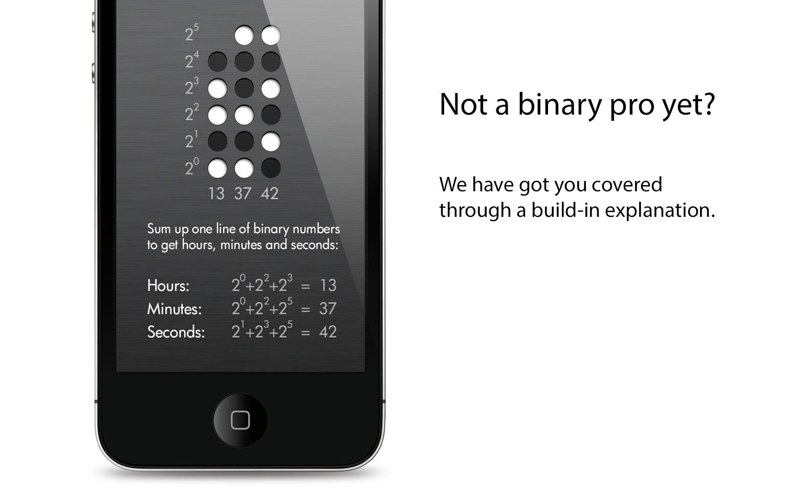 Binary clock iPhone app, slide 2