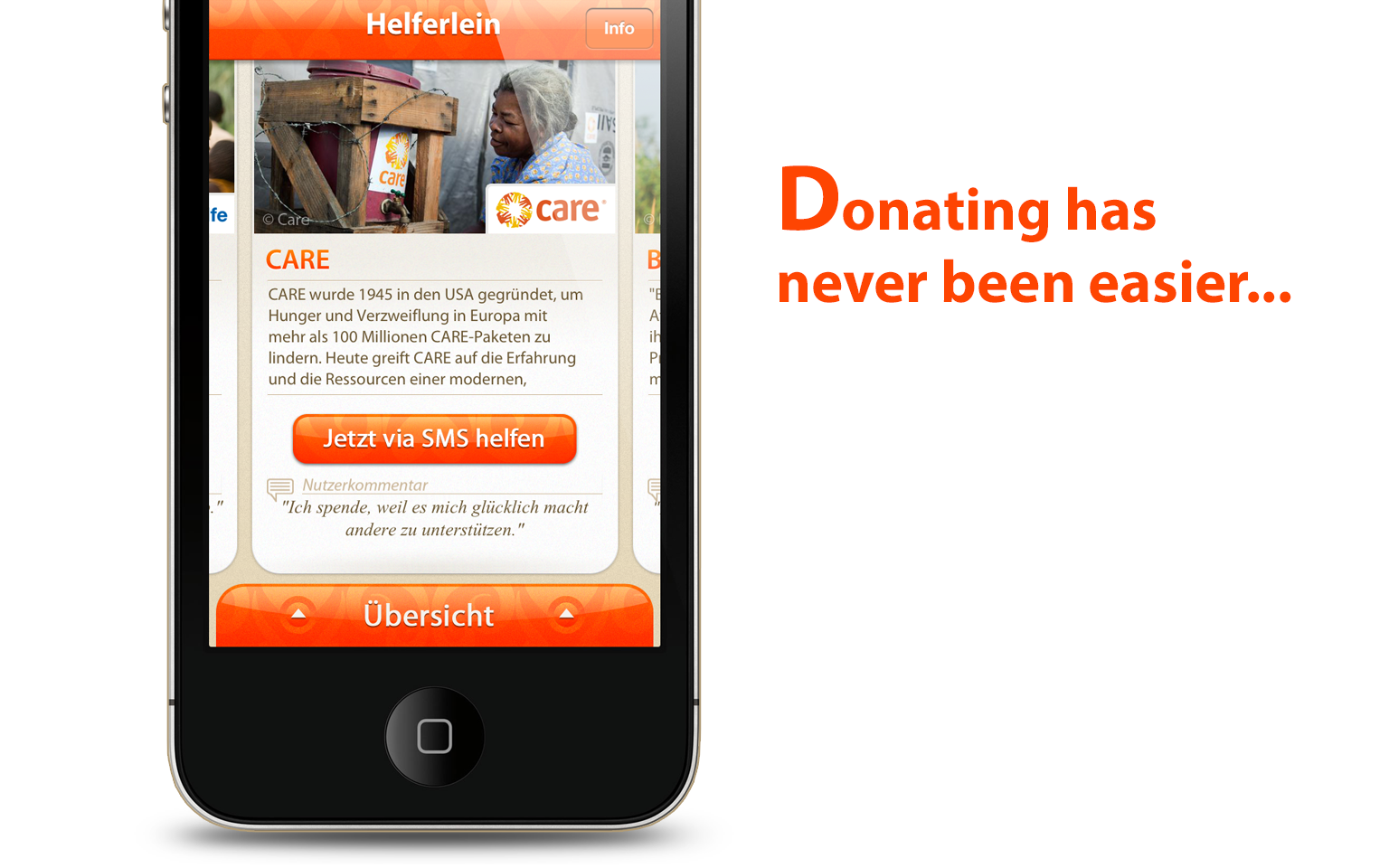 Helferlein charity iPhone app - slide 1